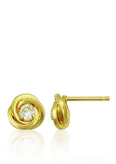 Belk & Co. Cubic Zirconia Love Knot Stud Earring in 14k Yellow Gold