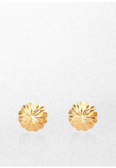 Belk & Co. Diamond Cut Dome Stud Earrings in Yellow Gold