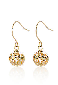 Belk & Co. 14k Yellow Gold Cutout Ball Dangle Earrings