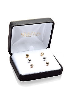 Belk & Co. 14k Tricolor 3-Pair Ball Stud Earring Set