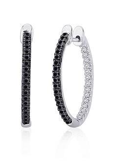 Belk & Co. Black and White Diamond Hoop Earrings in Sterling Silver
