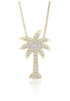 Diamond Palm Tree Pendant in 10K Yellow Gold