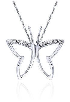 Belk & Co. Diamond Butterfly Pendant in 10k White Gold