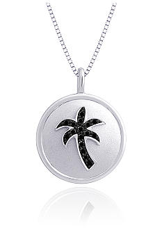 Belk & Co. Sterling Silver Black Diamond Palm Tree Pendant