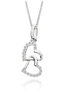Belk & Co. Double Heart Diamond Pendant in 10k White Gold