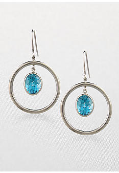 Belk & Co. Sterling Silver Dangle Earrings with Bezel Set Blue Topaz
