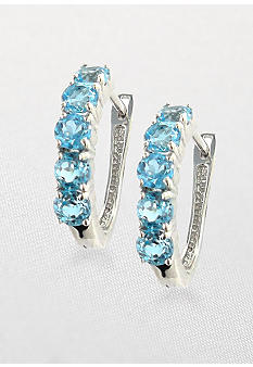 Belk & Co. Sterling Silver Swiss Blue Topaz Hoop Earrings