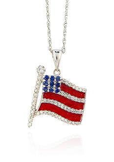 Belk & Co. Sapphire, Diamond and Enamel American Flag Pendant in Sterling Silver