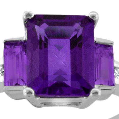 Jewelry & Watches: Belk & Co. Fine Jewelry: Amethyst Belk & Co. Sterling Silver Amethyst and Diamond Ring