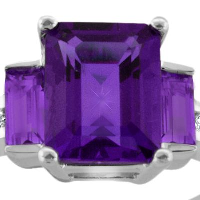 Jewelry & Watches: Belk & Co. Fine Jewelry: Purple Belk & Co. Sterling Silver Amethyst and Diamond Ring