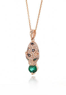 Effy 14k Rose Gold Emerald and Diamond Panther Pendant