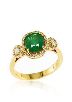 Effy 14k Yellow Gold Emerald and Diamond Ring