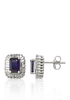 Effy 14k White Gold Sapphire and Diamond Earrings