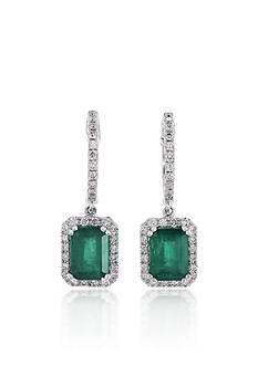Effy 14k White Gold Emerald and Diamond Earrings
