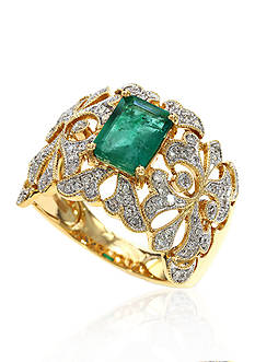 Effy 14k Yellow Gold Emerald and Diamond Band