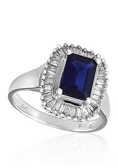 Effy 14k White Gold Sapphire and Diamond Ring