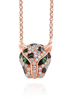 Effy Diamond and Tsavorite Panther Pendant in 14k Rose Gold
