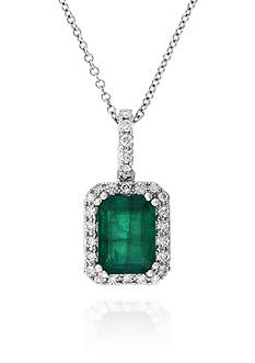 Effy 14k White Gold Emerald and Diamond Pendant
