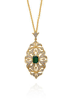 Effy Emerald and Diamond Pendant in 14k Yellow Gold
