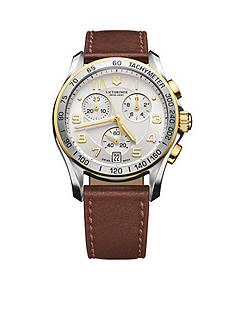 Victorinox Swiss Army Men's Chrono Classic Two-Tone Brown Strap Watch