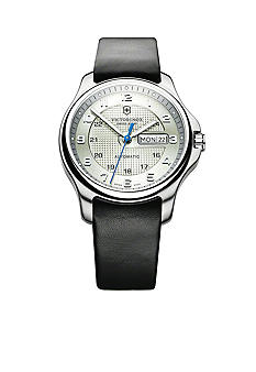Victorinox Swiss Army Officer Mechanical Silver Dial with Black Leather Strap