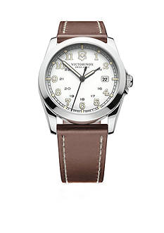 Victorinox Swiss Army Infantry Silver Dial with Brown Leather Strap Watch