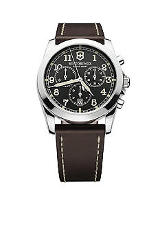 Victorinox Swiss Army Infantry Chronograph Black Dial with Dark Brown Leather Strap Watch
