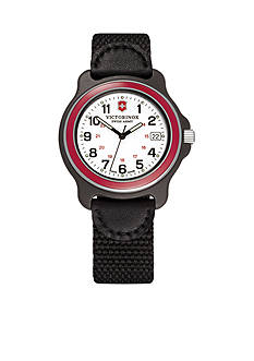 Victorinox Swiss Army Original White Dial Red Bezel Nylon Strap Watch