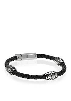 Belk & Co. Men's Black Leather and Stainless Steel Bracelet