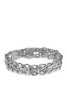 Belk & Co. Men's Diamond Cross Bracelet in Stainless Steel