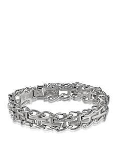 Belk & Co. Men's Diamond Cross Bracelet in Stainless Steel