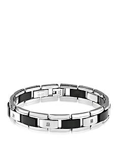Belk & Co. Men's Diamond and Black Ceramic Bracelet in Stainless Steel