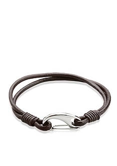Belk & Co. Men's Leather and Stainless Steel Bracelet