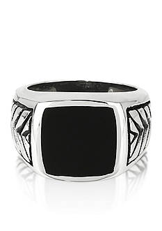 Belk & Co. Men's Stainless Steel and Black Resin Ring