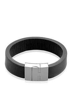 Belk & Co. Men's Leather and Stainless Steel Bangle