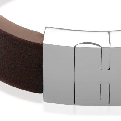 Fine Bangles: Brown Belk & Co. Men's Leather and Stainless Steel Bangle