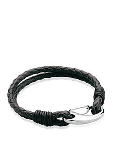 Belk & Co. Men's Stainless Steel and Leather Bracelet