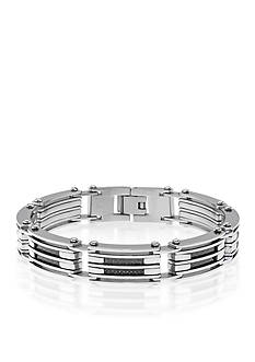Belk & Co. Men's Stainless Steel and Carbon Fiber Bracelet