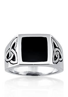 Belk & Co. Men's Stainless Steel and Black Resin Celtic Knot Ring