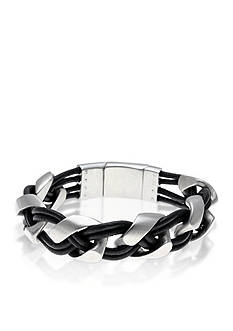 Belk & Co. Men's Stainless Steel and Black Leather Bracelet