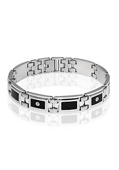 Belk & Co. Men's Diamond and Black Resin Bracelet in Stainless Steel