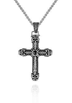 Belk & Co. Men's Stainless Steel and Black Agate Cross Pendant