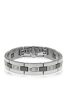 Belk & Co. Men's Stainless Steel and Ceramic Bracelet
