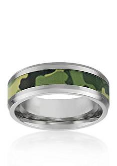 Belk & Co. Men's Stainless Steel Green Camouflage Ring