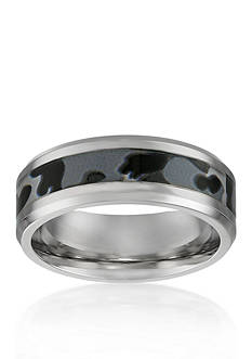 Belk & Co. Men's Stainless Steel Gray Camouflage Ring
