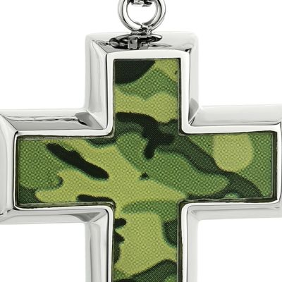 Jewelry & Watches: Belk & Co. Fine Jewelry: Green Belk & Co. Men's Stainless Steel Camouflage Cross Pendant