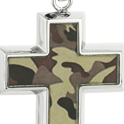 Jewelry & Watches: Belk & Co. Fine Jewelry: Brown Belk & Co. Men's Stainless Steel Camouflage Cross Pendant
