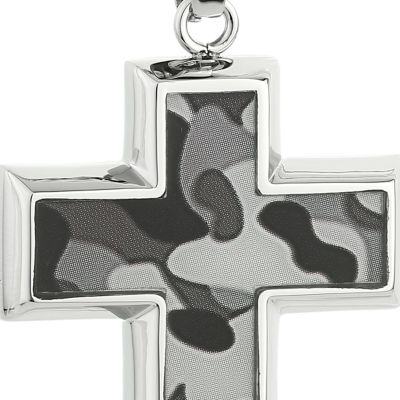 Jewelry & Watches: Belk & Co. Fine Jewelry: Gray Belk & Co. Men's Stainless Steel Camouflage Cross Pendant