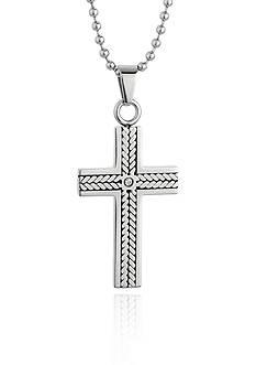 Belk & Co. Men's Stainless Steel Cubic Zirconia Cross Pendant