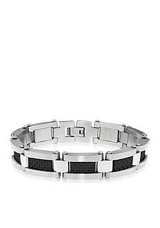 Belk & Co. Men's Stainless Steel and Black Carbon Bracelet